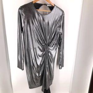 Asos Silver Twist Front Long Sleeve Mini Dress NWT